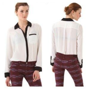 Free People White Black Trim Button Down Shirt M